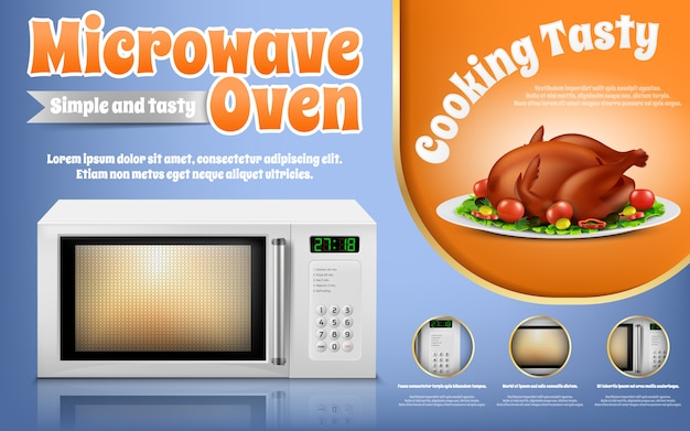 Banner de promoção com forno de microondas branco realista e frango assado com legumes Vetor grátis