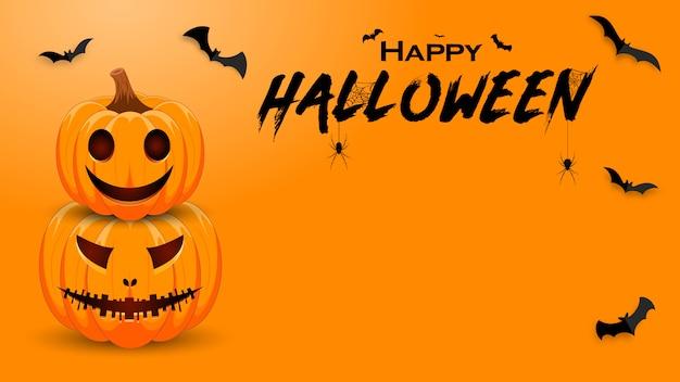 Banner de promoção de halloween com abóbora, morcegos e aranha. Vetor Premium