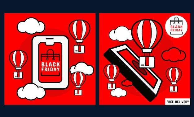 Banner de promoção de sexta-feira negra. celular com tela de compras online e caixa de pedidos e balão Vetor Premium