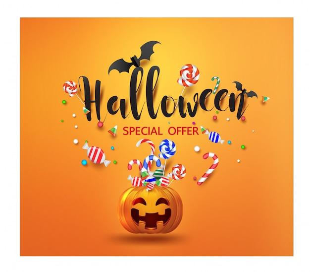 Banner de promoção de venda com doces de halloween e abóbora de halloween a sorrir Vetor Premium