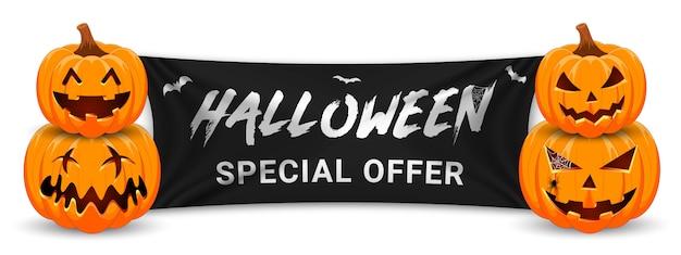 Banner de promoção de venda de halloween com abóbora, morcegos e bandeira preta. Vetor Premium