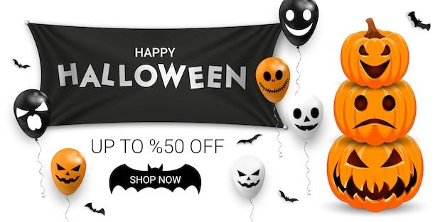 Banner de promoção de venda de halloween com balões assustadores, morcegos e abóbora. Vetor Premium