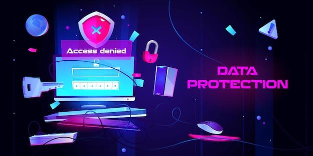 Banner de proteção de dados pessoais Vetor grátis