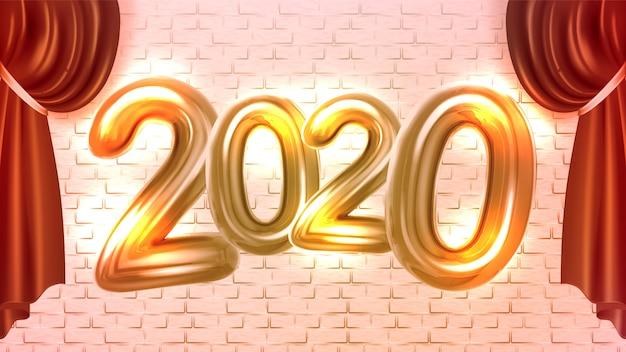 Banner de publicidade de concertos de ano novo de 2020 Vetor Premium