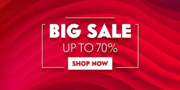 Banner de publicidade de grande venda com tipografia em fundo vermelho com ondas abstratas. design de modelo de marca para desconto de compras. decoração de conteúdo de fundo, promoção de mídia social. ilustração vetorial Vetor Premium