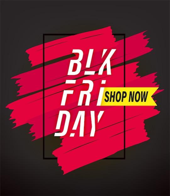 Banner de publicidade de venda de sexta-feira negra. compre agora Vetor Premium