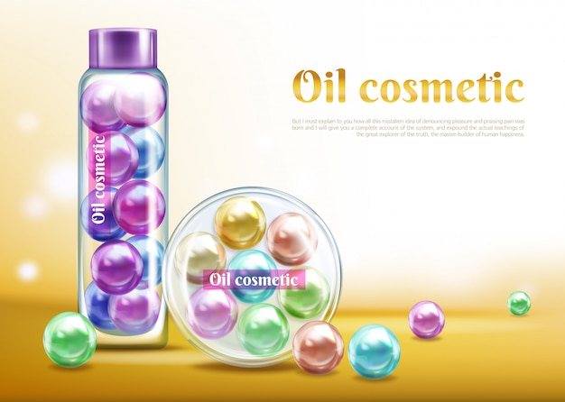 Banner de publicidade de vetor realista de produto cosmético de óleo, modelo de cartaz promo Vetor grátis