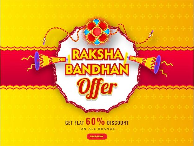 Banner de publicidade ou design de cartaz com rakhi decorativo (pulseira), alto-falante e oferta de desconto de 60% para venda de raksha bandhan. Vetor Premium