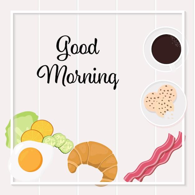 Banner de quadrados de vista superior de objetos de café da manhã para mídias sociais Vetor Premium