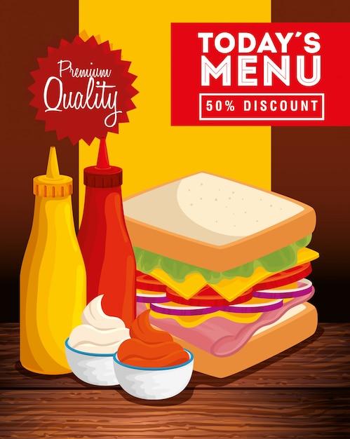 Banner de qualidade premium com comida deliciosa Vetor grátis