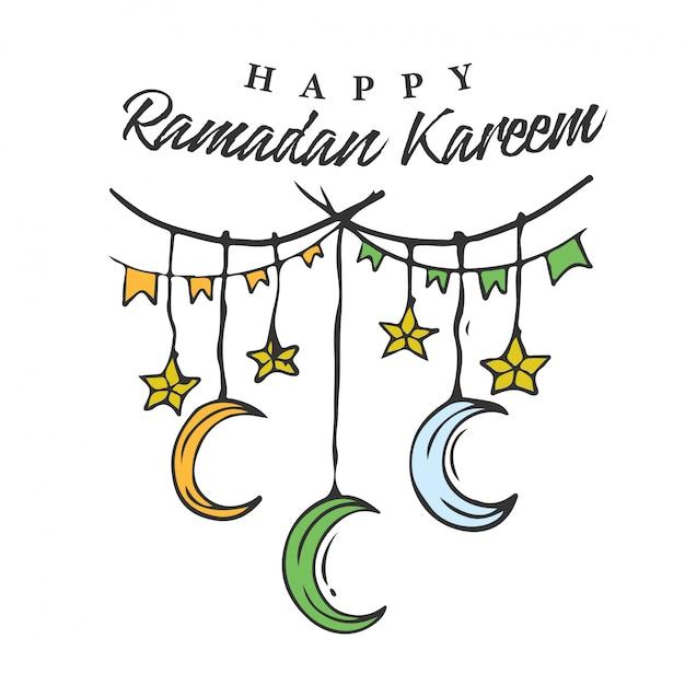 Banner de ramadan kareem doodle com hanging star & crescent Vetor Premium