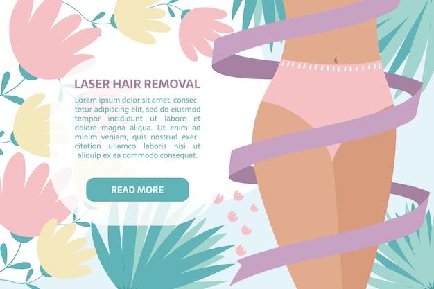 Banner de remoção de cabelo a laser. mulher com fita ao redor do corpo, decoração de folhas e flores Vetor Premium