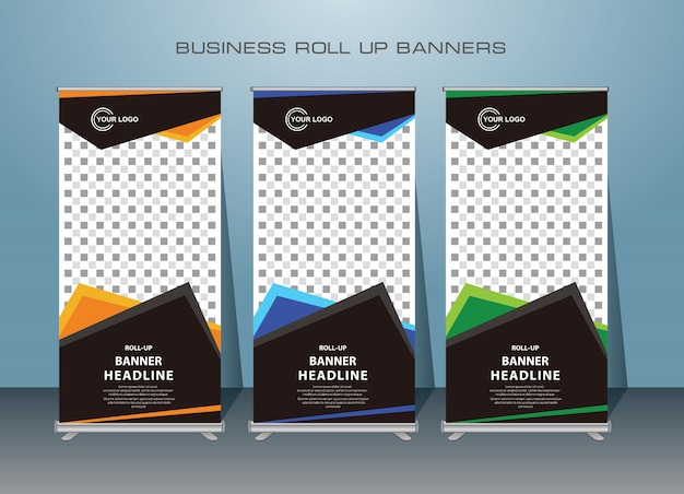 Banner de roll up moderno criativo Vetor Premium