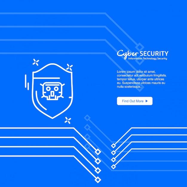 Banner de segurança cibernética Vetor grátis
