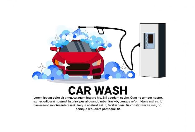 Banner de serviço de lavagem de carro com veículo de limpeza Vetor Premium