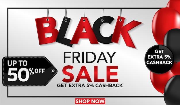Banner de sexta-feira negra com balão preto e vermelho Vetor Premium