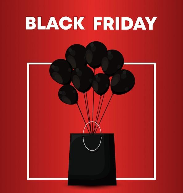 Banner de sexta-feira negra com saco de compras e balões de ar Vetor Premium