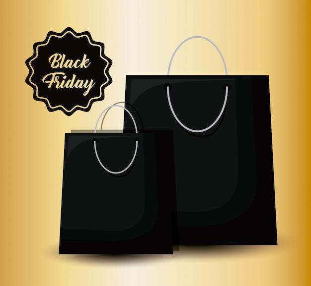 Banner de sexta-feira negra com saco de compras e tag Vetor Premium