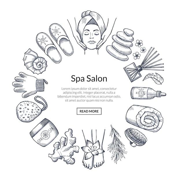 Banner de spa desenhado a mão com elementos em círculo Vetor Premium
