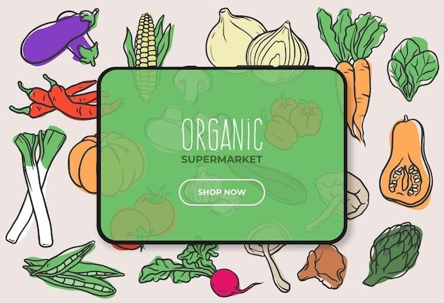 Banner de supermercado de alimentos orgânicos com tablet Vetor grátis