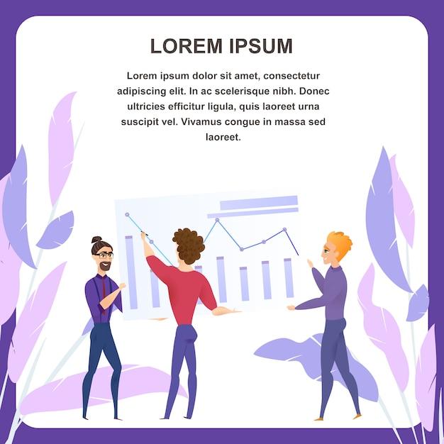 Banner de tablet de vetor de análise de planejamento de negócios Vetor Premium