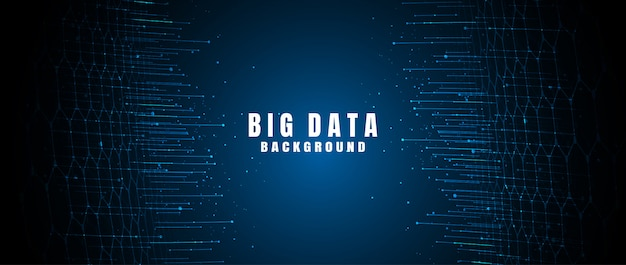 Banner de tecnologia abstrata com grande volume de dados Vetor Premium