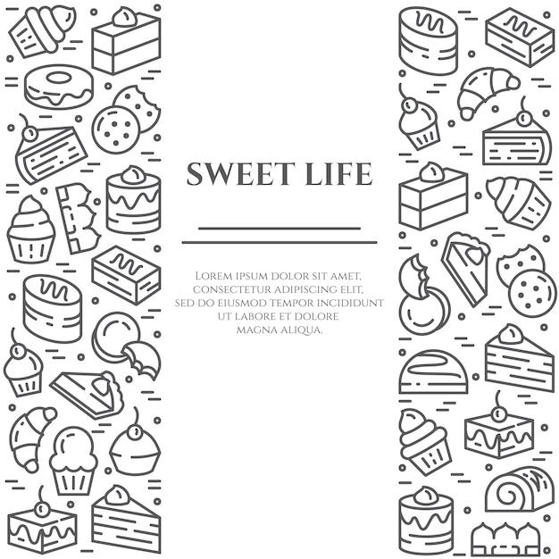 Banner de tema de bolos e biscoitos. Vetor Premium