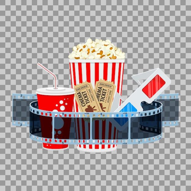 Banner de tempo de cinema e filme com filme transparente de ícones lisos, pipoca, bebida em copo de papel Vetor Premium