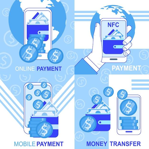 Banner de transferência de dinheiro de pagamento on-line nfc móvel definir ilustração vetorial Vetor grátis