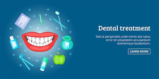 Banner de tratamento odontológico horizontal, estilo cartoon Vetor Premium