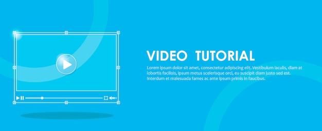Banner de tutorial em vídeo. mão pressionando um computador. Vetor grátis