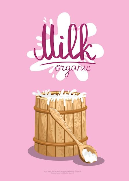 Banner de varejo de produtos lácteos tradicionais Vetor Premium