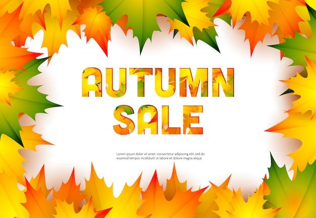 Banner de varejo venda outono com folhas de plátano Vetor grátis