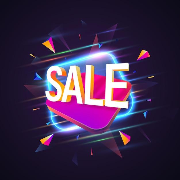 Banner de venda com brilho em fundo escuro. Vetor Premium