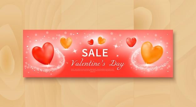 Banner de venda com corações vermelhos e amarelos realistas Vetor Premium
