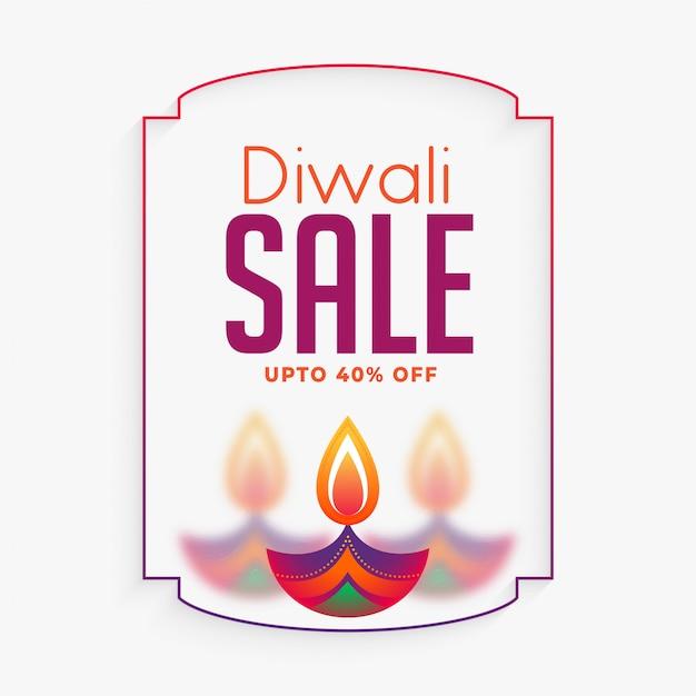 Banner de venda criativa feliz diwali com diya colorido Vetor grátis