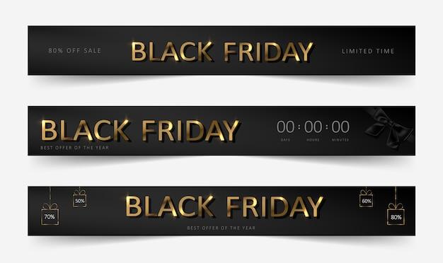 Banner de venda da black friday Vetor Premium