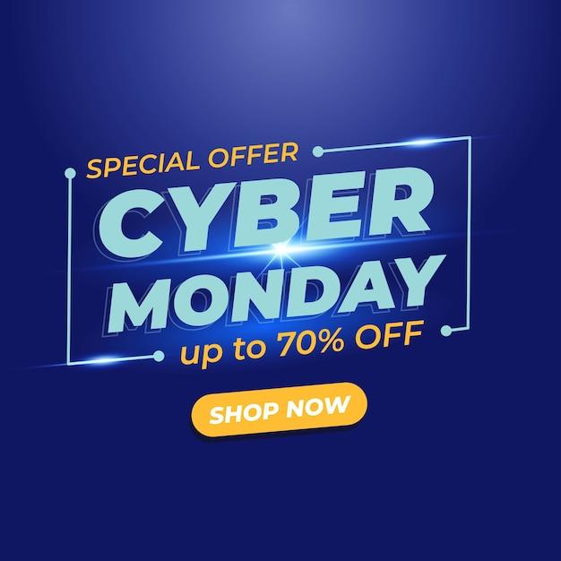 Banner de venda da cyber monday com efeito de luz Vetor Premium
