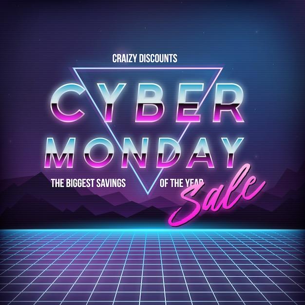 Banner de venda da cyber monday. Vetor Premium