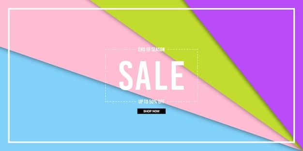 Banner de venda de corte de papel Vetor Premium
