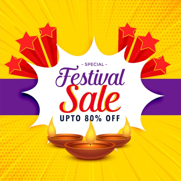 Banner de venda de diwali ou design de cartaz para a temporada de festivais Vetor grátis