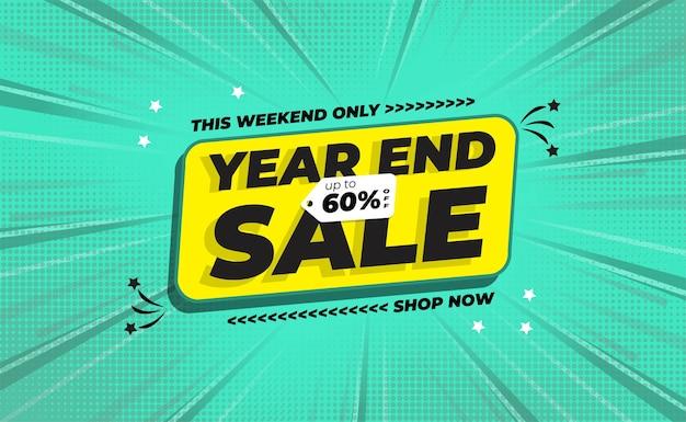 Banner de venda de fim de ano com estilo de fundo em quadrinhos Vetor Premium