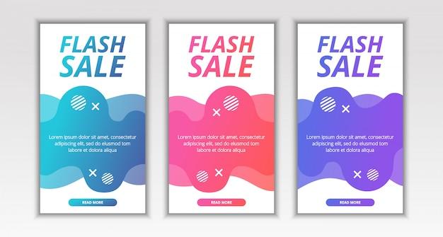 Banner de venda de flash móvel fluido moderno dinâmico Vetor Premium