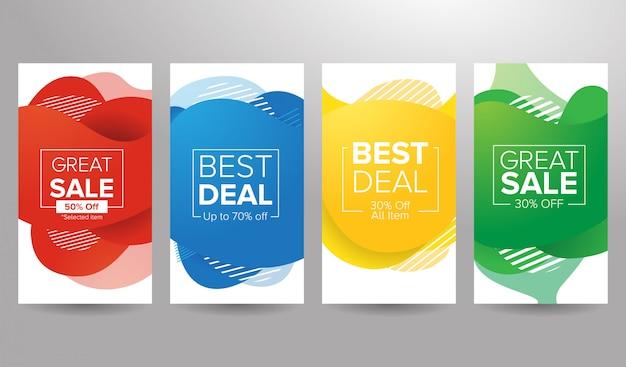 Banner de venda de fundo líquido colorido Vetor Premium