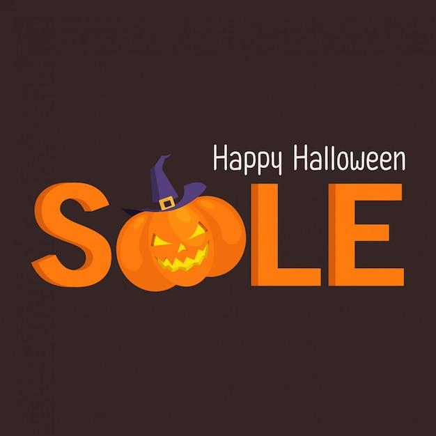 Banner de venda de halloween com abóbora e chapéu de bruxa Vetor Premium