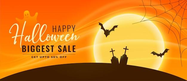Banner de venda de halloween com morcegos e cemitério a voar Vetor grátis