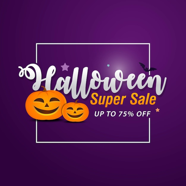Banner de venda de halloween com símbolos de férias abóbora e fantasma Vetor Premium