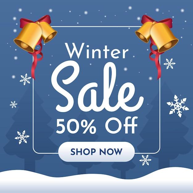 Banner de venda de inverno com sinos dourados e flocos de neve Vetor Premium