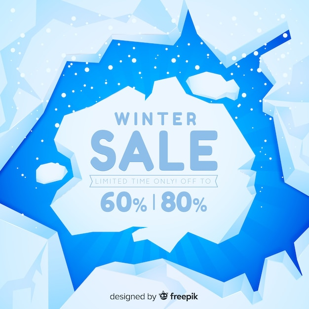Banner de venda de inverno Vetor Premium