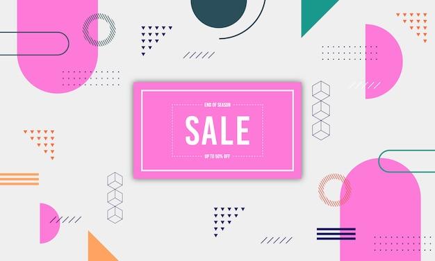 Banner de venda de memphis Vetor Premium